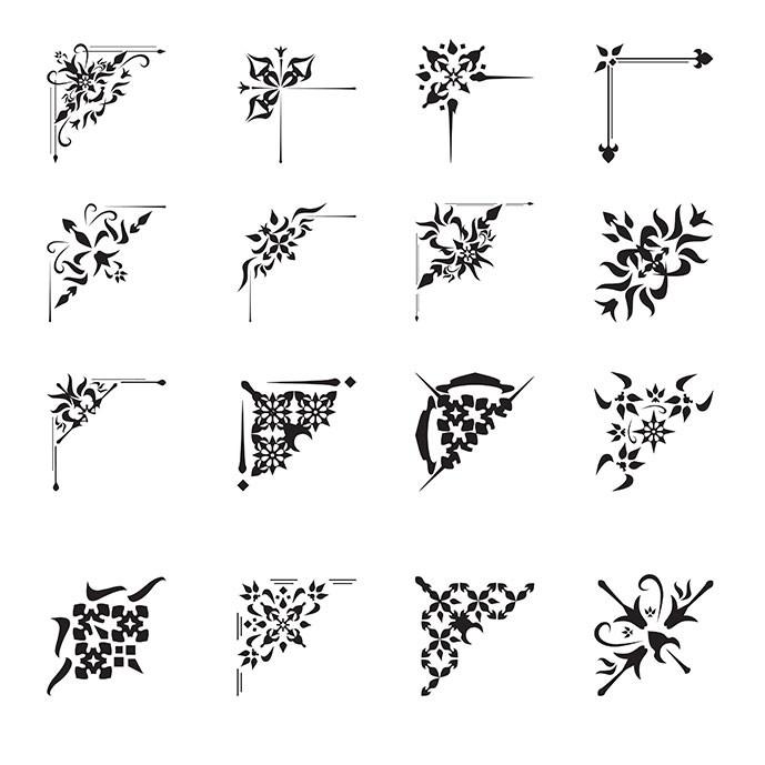 مجموعه 16 عددی از عناصر تزئینی گوشهای