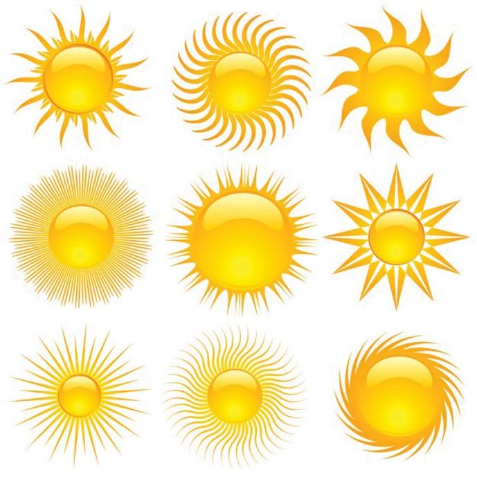 دانلود وکتور 9 مدل مختلف خورشید