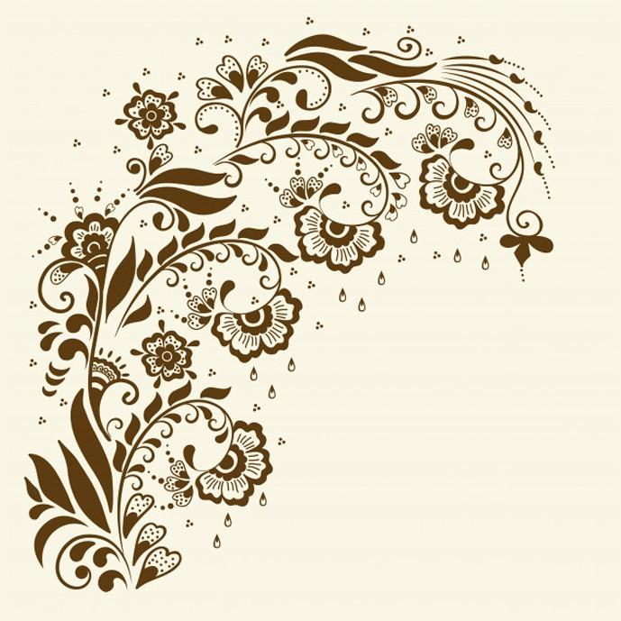 وکتور لایه باز چهار شاخه گل شرقی