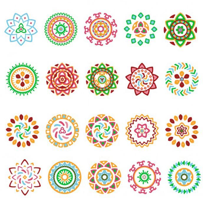 دانلود مجموعه 20 وکتور تزئینی دایره ای با رنگ های شاد