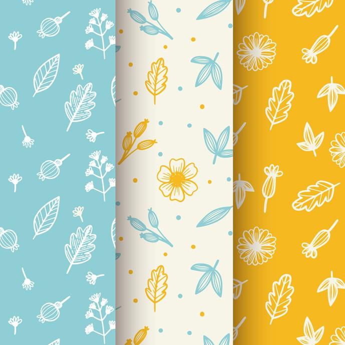 دانلود سه پترن پائیزی با عناصر جذاب (آبی، زرد، سفید) - شماره 762