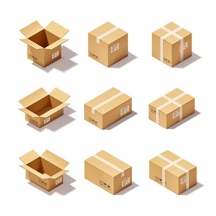 دانلود وکتور 9 حالت مختلف جعبه های کارتنی