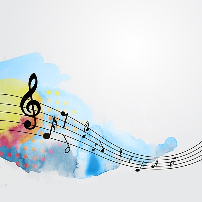 دانلود وکتور نت های موسیقی در زمینه آبرنگی آبی