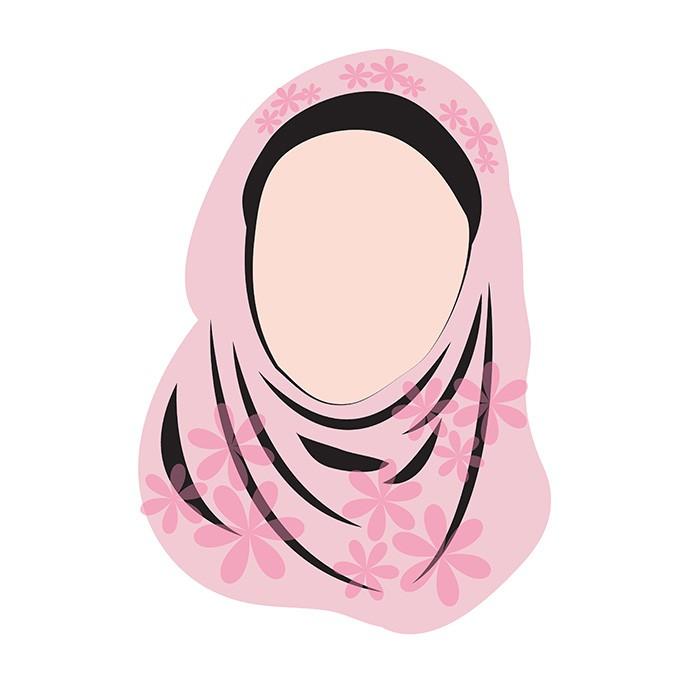 دانلود وکتور زن با حجاب مسلمان با روسروی صورتی گلدار