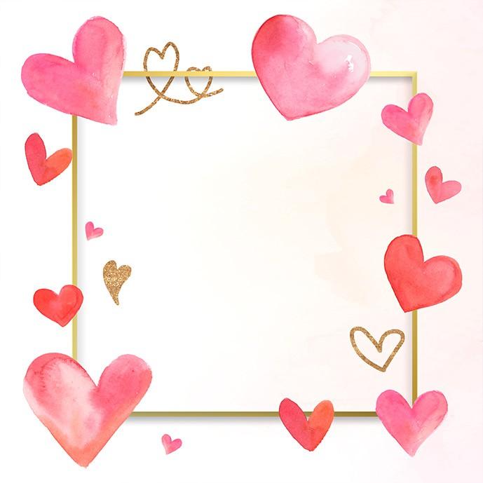 وکتور قاب عاشقانه با قلب های آبرنگی