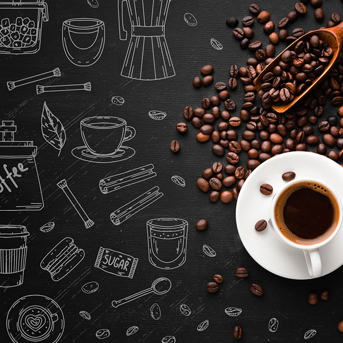 وکتور یک لیوان قهوه با دانههای قهوه