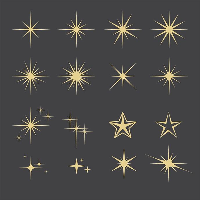 وکتور مجموعهای از ستارهها در شکل های مختلف