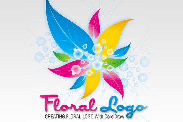 طراحی لوگو شبیه به گل در کورل دراو