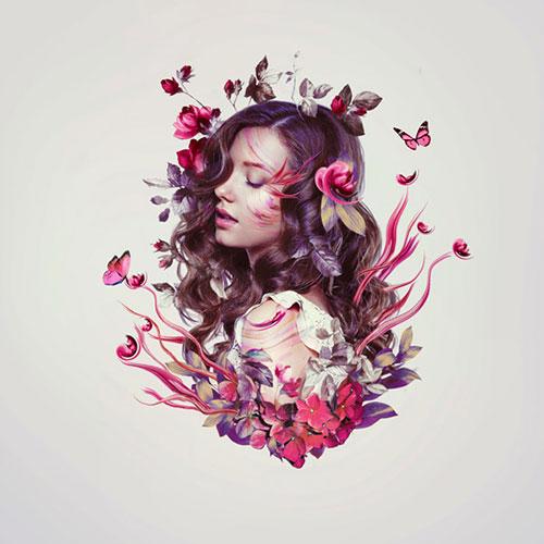 تزئین چهره با گل و پروانه در فتوشاپ