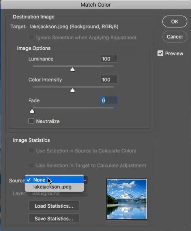 تغییر source در پنجره match color