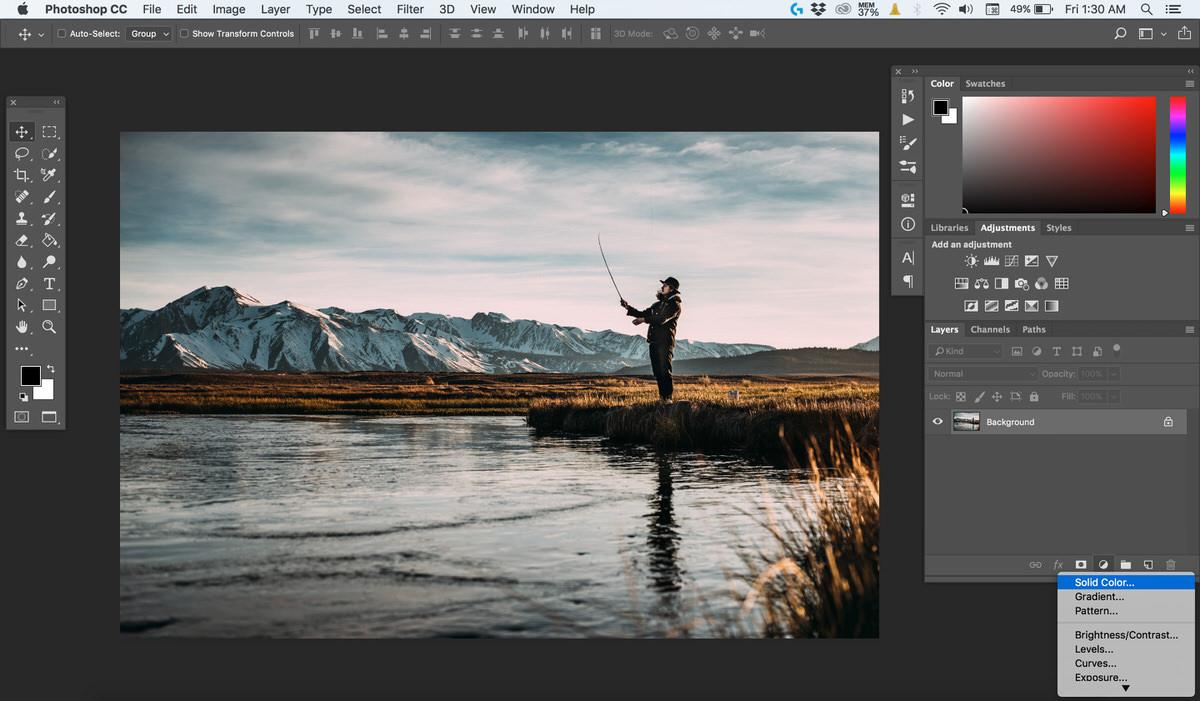 اضافه کردن solid color به تصویر در فتوشاپ