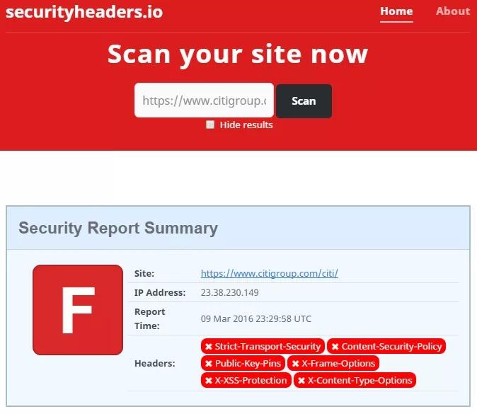 یک نمونه وب سایت با امتیاز بسیار بد F