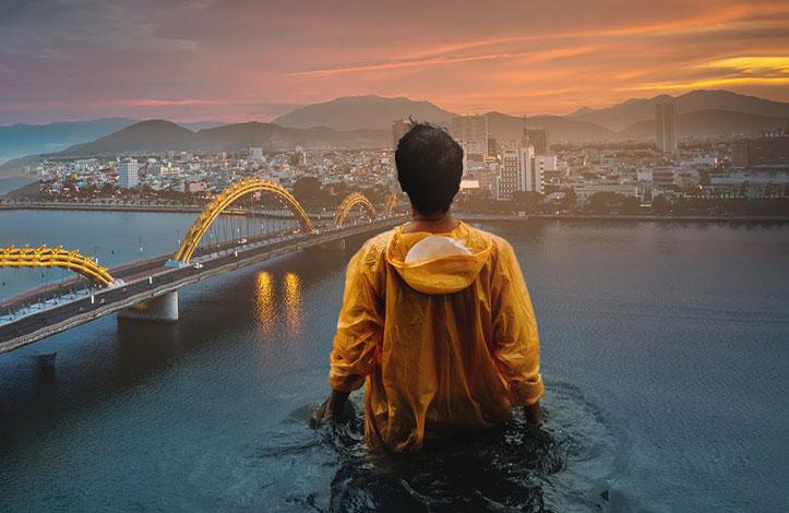 طراحی با فتوشاپ: مرد ایستاده در آب