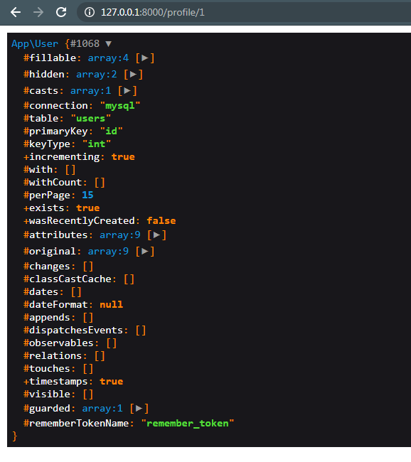 متد ()dd اجرا شده و داده های درخواست را نشان می دهد