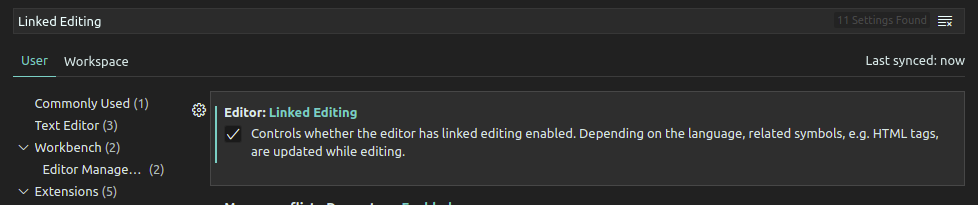 فعال کردن گزینه ی linked editing