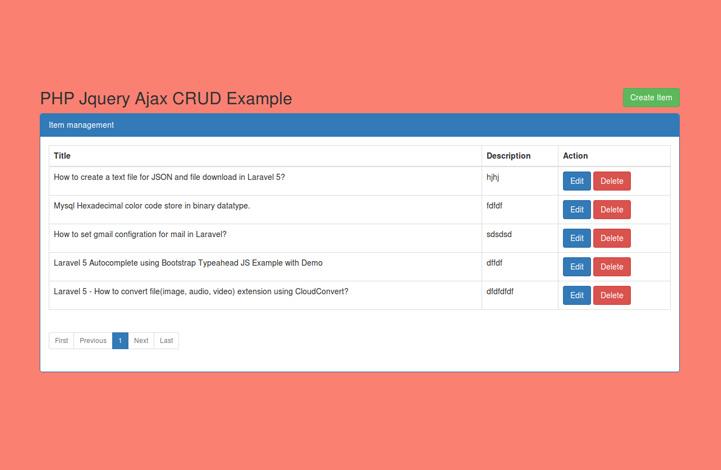 عملیات CRUD با PHP با استفاده از AJAX